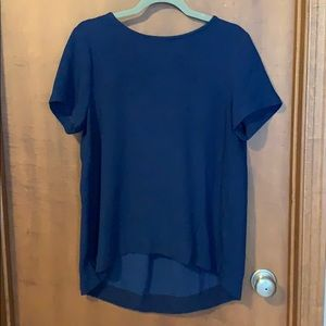 Blue short-sleeved top with back detail